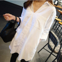 shirt white 2XL 3XL S M L XL Spring of 2019 cotton 96% and above Long sleeves Versatile Medium length V-neck Socket routine Solid color 25-29 years old Straight cylinder Han Jianna Cotton 100% Pure e-commerce (online only)