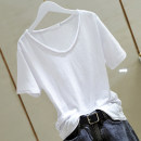T-shirt Pink White Black S M L XL 2XL Summer 2020 Short sleeve V-neck easy Regular routine commute cotton 96% and above Simplicity originality Solid color Han Jianna Rough edge Cotton 100% Exclusive payment of tmall