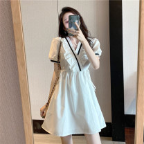 Dress Summer 2020 White black S M L XL Short skirt singleton  Short sleeve commute V-neck High waist Solid color Socket A-line skirt puff sleeve Others 18-24 years old Type A Button More than 95% other other Other 100% Pure e-commerce (online only)