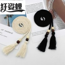 Belt / belt / chain Double skin leather BEIGE BLACK female Waist chain Weaving tassels Summer 2020