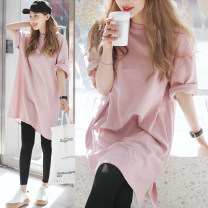 T-shirt Pink S M L XL Spring of 2019 Short sleeve Crew neck easy Medium length routine commute cotton 96% and above Korean version originality Solid color Ruoxi time 1-4510 Cotton 100% Pure e-commerce (online only)