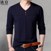 T-shirt Fashion City thin 165/M 170/L 175/XL 180/XXL 185/XXXL 190/XXXXL Farrlirr / fali Long sleeves V-neck easy daily autumn Other 100% middle age routine tide Autumn of 2019 Solid color Button decoration No iron treatment Pure e-commerce (online only)