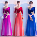 Dress / evening wear Company annual meeting performance Red, purple, blue other longuette middle-waisted Winter of 2019 Fall to the ground Deep collar V zipper flower Solid color Gelilan other Other 100% Pure e-commerce (online only)