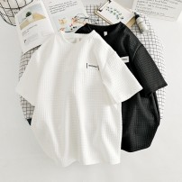 T-shirt White, black M,L,XL,2XL Summer 2021 Short sleeve Crew neck easy Regular routine commute cotton 96% and above 18-24 years old Korean version originality lattice Other / other WZR20203541 Sticking cloth