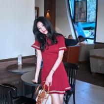Dress Summer of 2019 Red, black S,M,L,XL Short skirt singleton  Loose waist Solid color Socket other C024