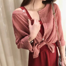Dress Summer of 2019 Red shirt + red skirt S,M,L,XL Mid length dress Two piece set commute High waist Solid color Socket 18-24 years old Korean version Bow, button More than 95% knitting cotton