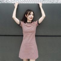 Dress Summer of 2019 Red (short sleeve) S,M,L,XL Short skirt singleton  commute High waist stripe Socket A-line skirt C016