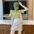 Fashion suit Summer of 2019 S M L XL Green top + leopard skirt 18-25 years old Yinlizi Other 100% Pure e-commerce (online only)