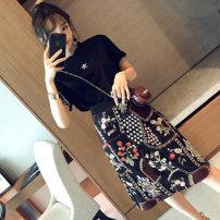 Women's large Summer 2020 Top + skirt S M L XL Two piece set commute Korean version Crew neck routine Yinlizi Medium length Other 100% Pure e-commerce (online only)
