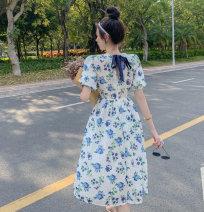 Women's large Summer 2020 Decor dress S L M commute Korean version V-neck puff sleeve 9133# Yinlizi 71% (inclusive) - 80% (inclusive) Triacetate fiber (triacetate fiber) 100% Pure e-commerce (online only)