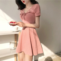 Women's large Summer 2020 Pink yellow S M L XL singleton  commute Short sleeve lattice Korean version V-neck other Yinlizi 25-29 years old Short skirt Other 100% Pure e-commerce (online only)