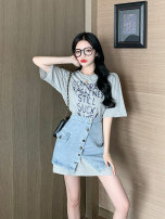 Women's large Summer 2021 Short sleeve + denim S XL M L Two piece set commute Short sleeve letter Korean version -017 Yinlizi 18-24 years old Other 100% Pure e-commerce (online only) Ninth pants