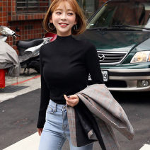 T-shirt Black and white M L XL XXL Autumn of 2019 Long sleeves Half high collar Self cultivation Regular routine commute polyester fiber 86% (inclusive) -95% (inclusive) 18-24 years old Korean version youth He Baiguan Polyester 95% polyurethane elastic fiber (spandex) 5% Exclusive payment of tmall