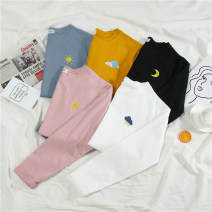 T-shirt M L XL XXL Autumn of 2019 Short sleeve Crew neck easy Regular routine commute polyester fiber 86% (inclusive) -95% (inclusive) 18-24 years old Korean version youth He Baiguan Polyester 95% polyurethane elastic fiber (spandex) 5% Pure e-commerce (online only)