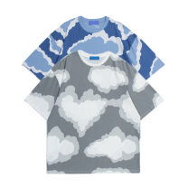 Women's large Summer 2021 Blue grey M L XL easy Short sleeve Crew neck 7089-2 He Baiguan Polyester 95% polyurethane elastic fiber (spandex) 5%