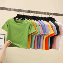 T-shirt Light purple pink Avocado Green fluorescent green fluorescent yellow fluorescent orange watermelon red cowboy blue black ginger white light blue mint green M L XL Autumn of 2019 Short sleeve Crew neck easy have cash less than that is registered in the accounts routine commute polyester fiber