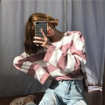 T-shirt Blue Black Pink M L XL Autumn 2020 Long sleeves Crew neck easy Regular routine commute polyester fiber 86% (inclusive) -95% (inclusive) 18-24 years old Korean version youth He Baiguan Polyester 95% polyurethane elastic fiber (spandex) 5% Pure e-commerce (online only)