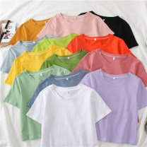 T-shirt M L XL Summer 2020 Short sleeve Crew neck easy have cash less than that is registered in the accounts routine commute polyester fiber 86% (inclusive) -95% (inclusive) 18-24 years old Korean version youth He Baiguan Polyester 95% polyurethane elastic fiber (spandex) 5%