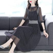 Dress Summer 2021 black XL,2XL,3XL,L,M Middle-skirt singleton  elbow sleeve commute Crew neck High waist Dot Princess Dress routine Others 25-29 years old printing 71% (inclusive) - 80% (inclusive) other