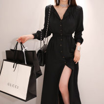 Women's large Spring 2021 black Big XL, big L, big XXL, big XXXL, big XXXXL, big XXXXL Dress commute Solid color V-neck routine other routine C628 25-29 years old Three dimensional decoration 51% (inclusive) - 70% (inclusive) other