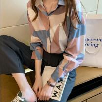 Women's large Spring 2021 Blue [shirt spring 2021 new fashion] pink [shirt niche design] 2XL [140-160 Jin] 3XL [160-180 Jin] m [85-100 Jin] l [100-120 Jin] XL [120-140 Jin] 4XL [180-200 Jin] shirt singleton  commute easy moderate Cardigan Long sleeves Shape abstract pattern Korean version Polo collar