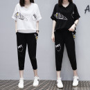 Women's large Korean version Bat sleeve Cropped Trousers Summer 2021 commute Two piece set Other oversize styles 5652325722 Short sleeve Solid letters moderate Crew neck Condom easy 25-29 years old First meeting of beauty Polyester cotton pocket Stereoscopic cutting Other 100% routine Pear shape