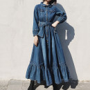 Dress Spring 2021 Denim blue XS S M L XL 2XL 3XL longuette singleton  Long sleeves street Polo collar High waist Solid color Single breasted Big swing routine Others 30-34 years old Type A European eyes Pocket lace up for old buttons ou8340 More than 95% Denim cotton Cotton 100% Europe and America