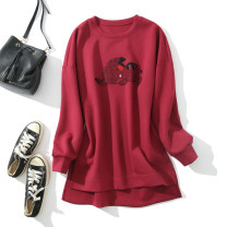 Dress Autumn 2021 Grey, red S,M,L,XL Short skirt singleton  Long sleeves commute Crew neck Socket routine Type H 71% (inclusive) - 80% (inclusive) polyester fiber