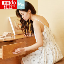 Nightdress Hodo / red bean white 160 165 170 175 Sweet camisole Leisure home Middle-skirt summer Plants and flowers youth V-neck cotton printing More than 95% pure cotton AJ422 Summer 2021 Cotton 100% Same model in shopping mall (sold online and offline)