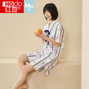 Nightdress Hodo / red bean white 160 165 170 175 Simplicity Short sleeve Leisure home Middle-skirt summer stripe youth V-neck cotton printing 81% (inclusive) - 95% (inclusive) other AJ460 Summer 2021 Cotton 100% Same model in shopping mall (sold online and offline)