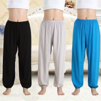 Pajamas / housewear female trousers Thin money Leisure home Simplicity Solid color summer rubber string High waist youth cotton More than 95% poplin  200g and below printing
