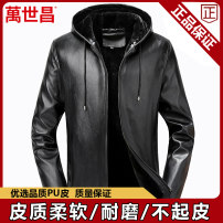leather clothing Wan Shichang Business gentleman Black (19002) black 18929 small collar coffee 18929 small collar black (18927) 50 52 54 56 58 60 routine Imitation leather clothes Hood easy zipper autumn leisure time middle age PU Basic public DM Cloth hem Side seam pocket No iron treatment