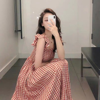 Dress Summer 2020 Red Plaid Dress S M L XL longuette singleton  Sleeveless commute square neck High waist lattice Socket A-line skirt routine camisole 18-24 years old Type A Coquettish cat Korean version EO040906 More than 95% other Other 100% Pure e-commerce (online only)