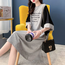 T-shirt Black grey Average size Summer 2021 Short sleeve Crew neck Straight cylinder Medium length routine commute cotton 86% (inclusive) -95% (inclusive) 18-24 years old Korean version letter Fanya FY3645 printing Cotton 93.5% polyurethane elastic fiber (spandex) 6.5% Pure e-commerce (online only)