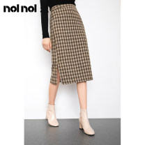 skirt Spring 2020 XS S M L XL 2XL Brown Mid length dress Retro High waist skirt lattice Type H 25-29 years old N439612695 More than 95% other NOLNOL polyester fiber Polyester 100%