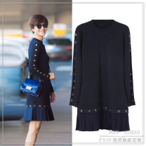 Dress Autumn of 2018 dark blue S M L Mid length dress singleton  Long sleeves commute Crew neck Solid color Socket Pleated skirt routine 18-24 years old Type A Enchantment envoy Korean version More than 95% other Other 100%