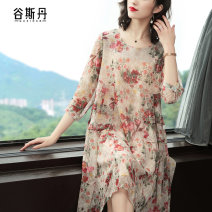 Dress Spring 2020 Decor M L XL XXL Mid length dress singleton  three quarter sleeve commute Crew neck Loose waist Big flower Socket A-line skirt routine Others 40-49 years old Type A Gu Si Dan Retro Printing crimping L0643 More than 95% other other Other 100% Pure e-commerce (online only)