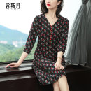 Dress Spring 2020 black M L XL XXL Middle-skirt singleton  three quarter sleeve commute V-neck middle-waisted Decor zipper A-line skirt routine Others 40-49 years old Type A Gu Si Dan Retro Pocket zipper with printed decorative buttons L0641 More than 95% other polyester fiber