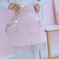 skirt Autumn of 2019 S,M,L Apricot, pink skirt Short skirt Versatile High waist A-line skirt Solid color Type A 18-24 years old 31% (inclusive) - 50% (inclusive) other Other / other cotton