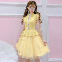 Dress Summer 2020 White, yellow S,M,L Mid length dress singleton  Sleeveless Sweet Crew neck High waist Solid color zipper A-line skirt routine Others 18-24 years old Type X Other / other Mesh, zipper, stitching 51% (inclusive) - 70% (inclusive) other other princess