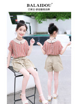 suit Basil bean Red (2-piece set) yellow (2-piece set) female summer leisure time Short sleeve + pants 2 pieces Thin money There are models in the real shooting Socket nothing lattice cotton children Learning reward Class B Summer 2021 Chinese Mainland Zhejiang Province Taizhou City