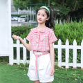 suit Basil bean Light blue suit pink suit 130cm 140cm 150cm 160cm 170cm female summer Korean version Short sleeve + pants 2 pieces Thin money There are models in the real shooting Socket nothing lattice cotton children Expression of love Class B Cotton 95% polyester 5% Summer 2021 Chinese Mainland