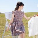 Dress Dress female Basil bean 120cm 130cm 140cm 150cm 160cm 170cm Cotton 100% summer Korean version Short sleeve lattice cotton Straight skirt X57 Class B Summer 2021 Chinese Mainland Zhejiang Province Taizhou City