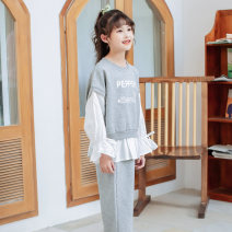 suit Basil bean Sports two piece suit (vitality grey) sports two piece suit (Youth purple) 110cm 120cm 130cm 140cm 150cm 160cm 170cm female spring and autumn Korean version Long sleeve + pants 2 pieces routine There are models in the real shooting Socket nothing Solid color other children C012zly