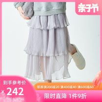 skirt 145cm 155cm 160cm White Grey Pink Cloth scene kids female Polyester 100% spring and autumn skirt leisure time Solid color Cake skirt BG93QQ0513 Class B