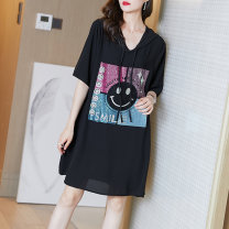 Women's large Summer 2021 black M L XL XXL XXXL Dress singleton  commute easy moderate Socket Short sleeve Hood routine Fire sleeve Middle-skirt Other 100% Pure e-commerce (online only) other