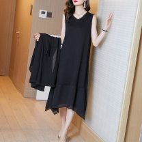 Women's large Summer 2021 black M L XL XXL XXXL Dress singleton  commute easy moderate Socket Sleeveless Solid color V-neck Medium length polyester fiber routine Fire sleeve 25-29 years old longuette Other 100% Pure e-commerce (online only) Irregular skirt