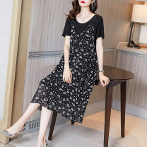 Women's large Spring 2021 black M L XL XXL XXXL Dress Two piece set commute easy moderate Socket Short sleeve Korean version Crew neck Medium length routine Fire sleeve 35-39 years old Medium length Other 100% Pure e-commerce (online only) other