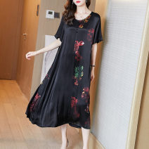 Women's large Summer 2021 Black flower M L XL XXL Dress singleton  commute easy moderate Socket Short sleeve Decor Simplicity Crew neck Medium length Three dimensional cutting routine Fire sleeve 35-39 years old Button Medium length Other 100% Pure e-commerce (online only) other