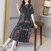 Women's large Summer 2021 black M L XL XXL Dress singleton  commute easy moderate Socket Short sleeve Decor Simplicity Polo collar Medium length Three dimensional cutting routine Fire sleeve 35-39 years old Button Medium length Other 100% Pure e-commerce (online only)